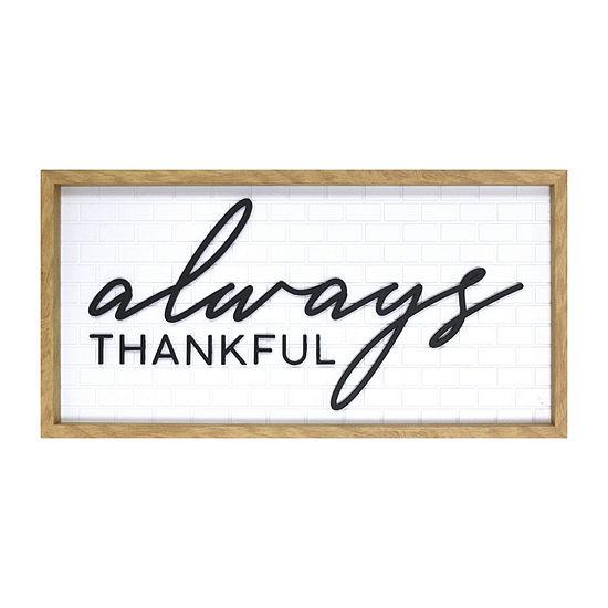 12x24 Always Thankful Wall Sign