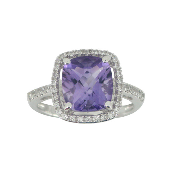 Genuine Cushion-Cut Amethyst & Lab-Created White Sapphire Ring Sterling Silver