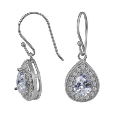 Sparkle Allure™ Cubic Zirconia Silver-Plated Teardrop Earrings