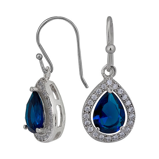 Sparkle Allure Blue White Cubic Zirconia Teardrop Earrings