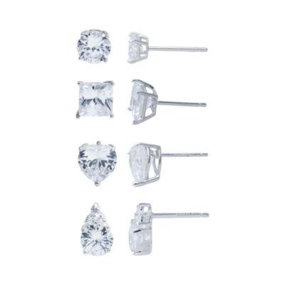 Sterling Silver 4-pr. Cubic Zirconia Stud Earring Set