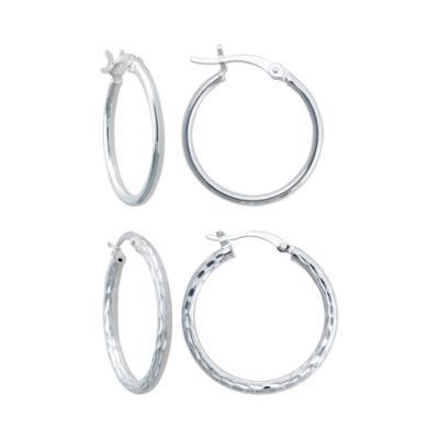 Sterling Silver 2-pr. Hoop Earring Set