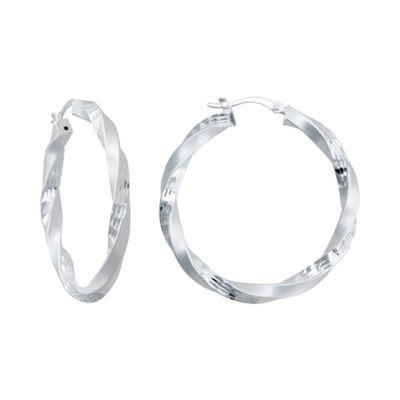 Sterling Silver Twisted, Dual-Surface Hoop Earrings