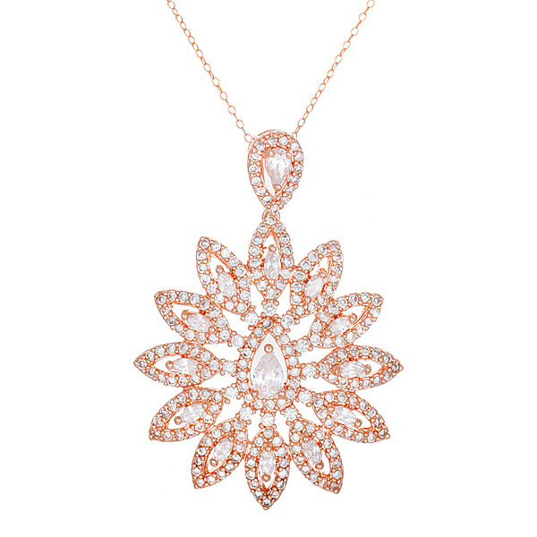 18K Rose Gold Over Brass Cubic Zirconia Flower Pendant Necklace