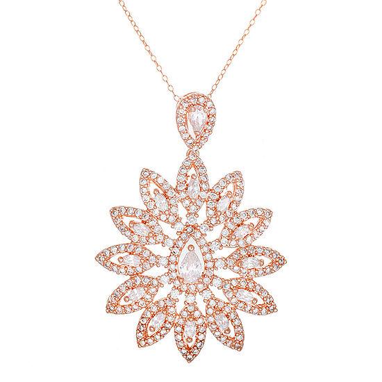 18K Rose Gold Over Brass Cubic Zirconia Flower Pendant Necklace