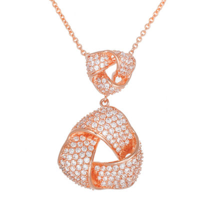 18K Rose Gold Over Brass Cubic Zirconia Love Knot Pendant Necklace