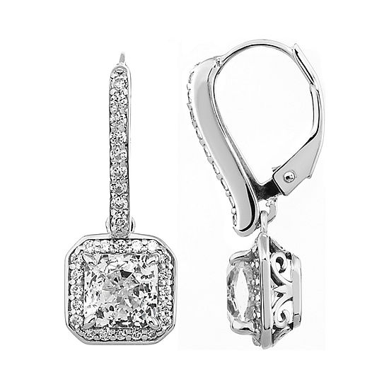 100 Facets by DiamonArt® Square Halo Cubic Zirconia Drop Earrings