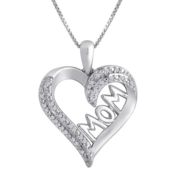 1/10 CT. T.W. Diamond Sterling Silver Mom Heart Pendant Necklace