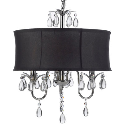 Gallery 3-Light Chrome and Crystal Chandelier - Large Shade