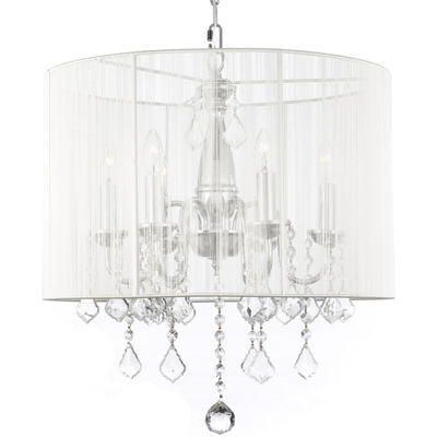 Gallery 6-Light Chrome and Crystal Chandelier – Large Shade