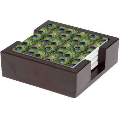 Thirstystone® Peacock Feather Coasters Gift Set