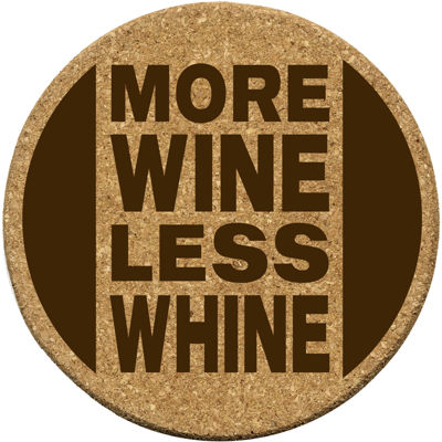 "Thirstystone® ""More Wine Less Whine"" Set of 6 Cork Coasters"