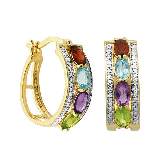Classic Treasures™ Genuine Multi-Gemstone and Diamond-Accent Hoop Earrings