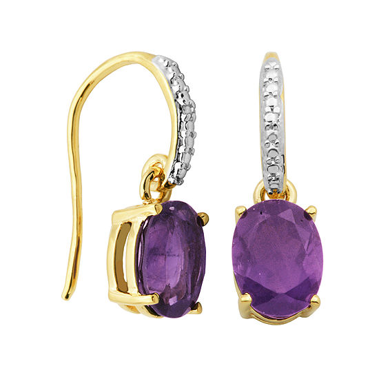 Classic Treasures™ Genuine Amethyst and Diamond-Accent Drop Earrings