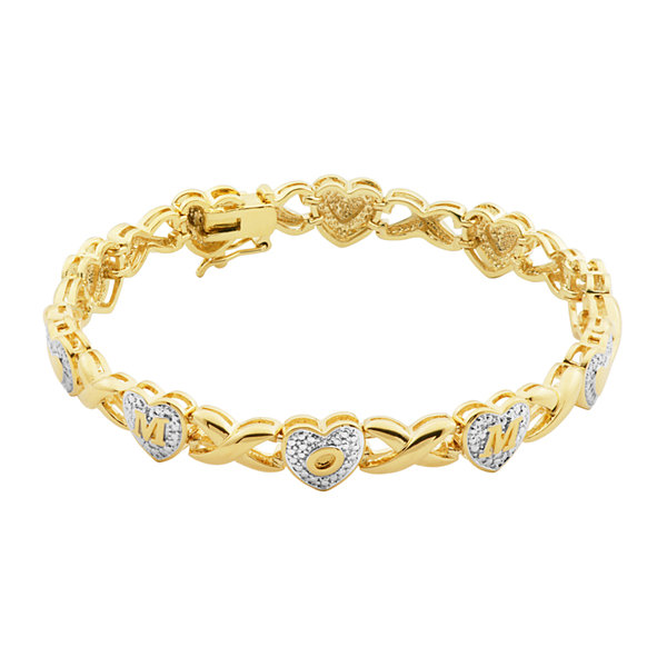 Classic Treasures™ Diamond-Accent 18K Two Tone Gold Over Brass Mom Bracelet