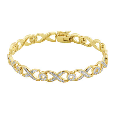 Classic Treasures™ Diamond-Accent X/O 18K Two-Tone Gold Over Brass Bracelet