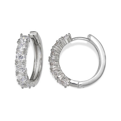Silver Enchantment™ Cubic Zirconia Huggie Hoop Earrings