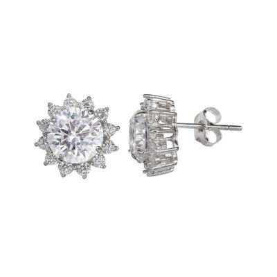 Silver Enchantment™ Cubic Zirconia Sterling Silver Halo Earrings