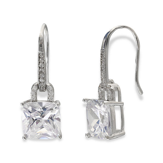 Silver Enchantment Cushion Cut Cubic Zirconia Sterling Drop Earrings