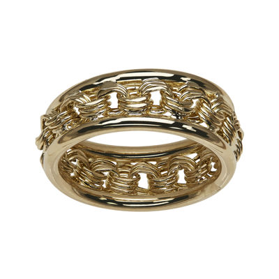 14K Yellow Gold Rosetta-Center Hollow Ring