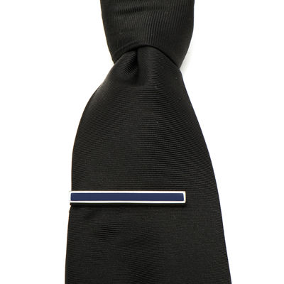 Navy Enamel Inlaid Short Tie Bar