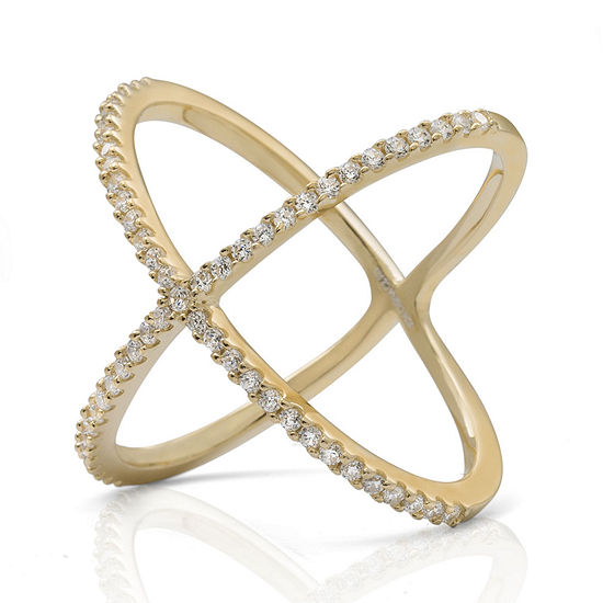 "Cubic Zirconia 14K Yellow Gold Over Silver ""X"" Ring"