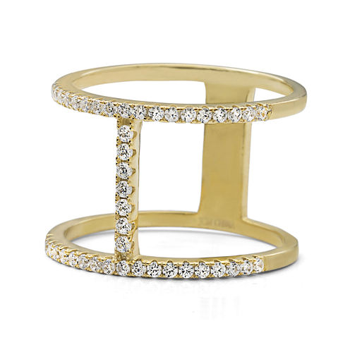 Cubic Zirconia Double Bar 14K Yellow Gold Over Silver Ring