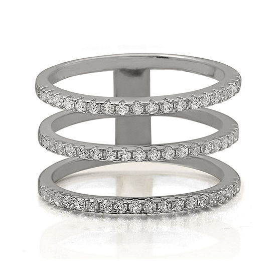 Cubic Zirconia Triple-Row Sterling Silver Ring
