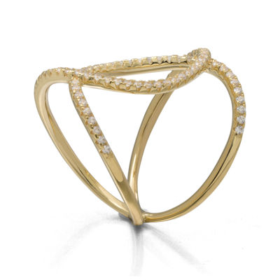 Cubic Zirconia Double-Loop 14K Yellow Gold Over Silver Ring