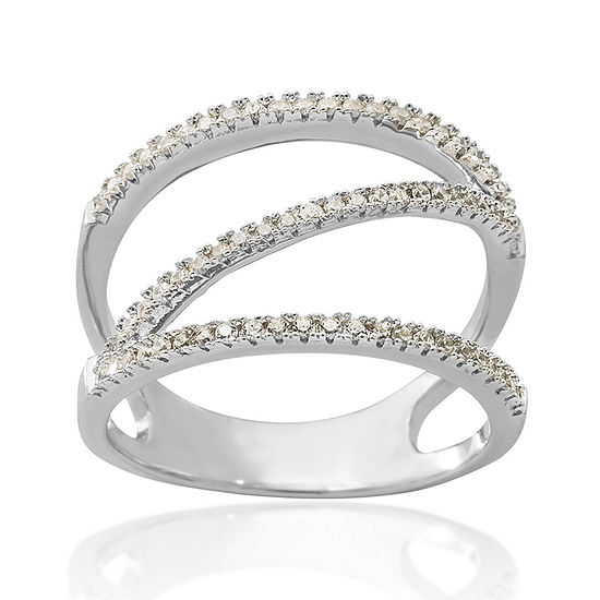 Cubic Zirconia Sterling Silver Zig-Zag Ring
