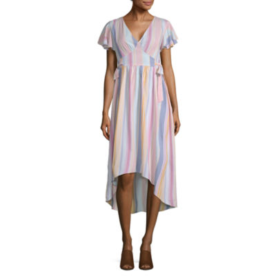 a.n.a Short Sleeve Striped Midi Dress