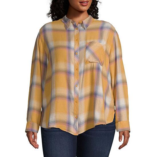 Arizona Long Sleeve Button-Front Shirt- Juniors Plus