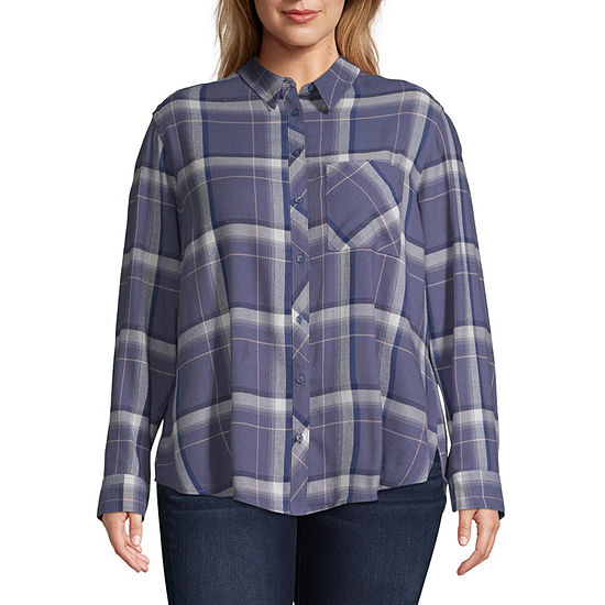 Arizona Womens Long Sleeve Button-Front Shirt-Juniors Plus