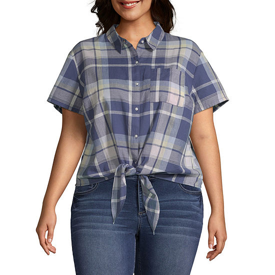 Arizona Womens Short Sleeve Button Front Shirt Juniors Plus