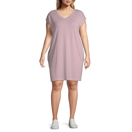 St. John's Bay Active Short Sleeve Striped T-Shirt Dresses - Plus