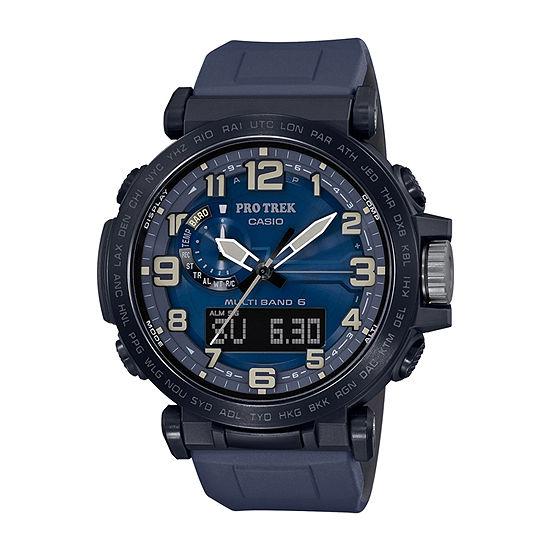 Casio Pro Trek Mens Atomic Time Blue Strap Watch-Prw6600y-2
