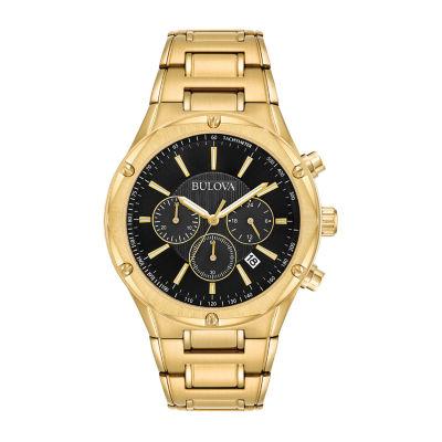 Bulova Mens Gold Tone Stainless Steel Bracelet Watch 97b161