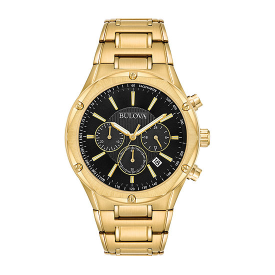 Bulova Mens Gold Tone Stainless Steel Bracelet Watch-97b161