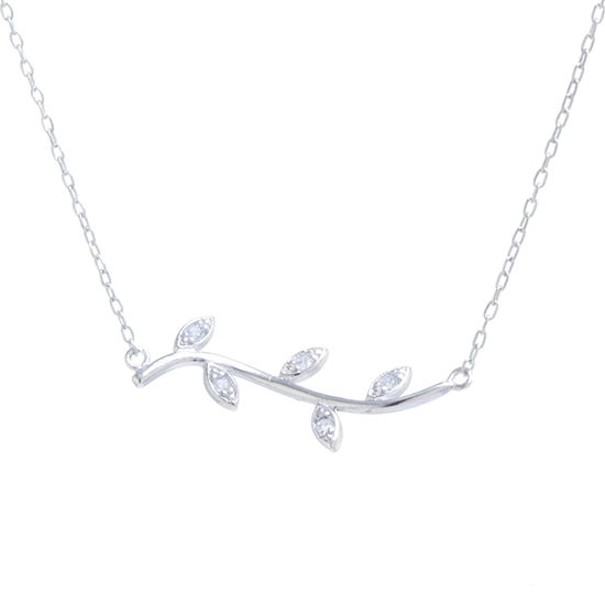 Silver Treasures Womens White Cubic Zirconia Sterling Silver Pendant Necklace