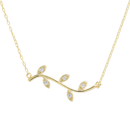 Silver Treasures White Cubic Zirconia 14K Gold Over Silver 16 Inch Cable Pendant Necklace