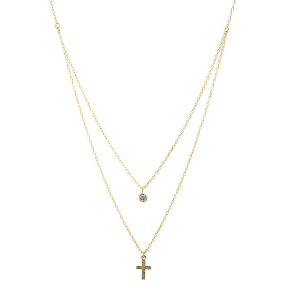 Silver Treasures White Cubic Zirconia 14K Gold Over Silver 16 Inch Cable Cross Pendant Necklace