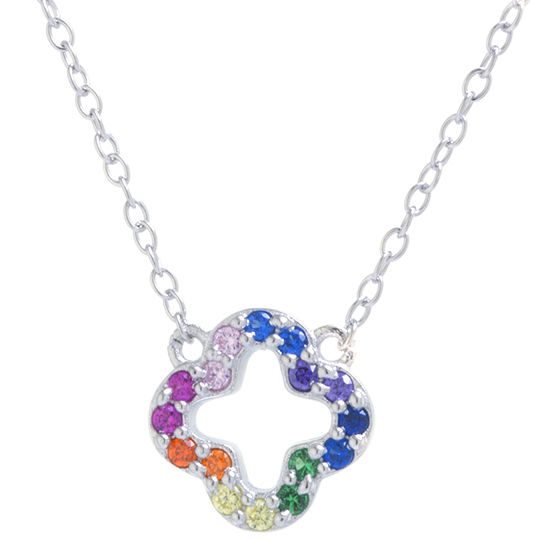 Silver Treasures Multi Color Cubic Zirconia Sterling Silver 16 Inch Cable Clover Pendant Necklace