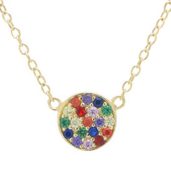 Silver Treasures Womens Multi Color Cubic Zirconia 14K Gold Over Silver Pendant Necklace