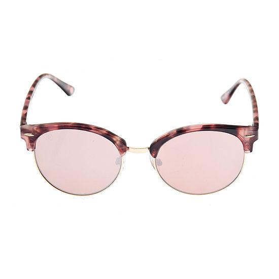 Nicole By Nicole Miller Womens Half Frame Round UV Protection Sunglasses