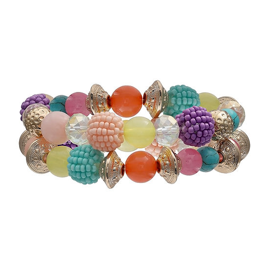 Mixit Pastel Multi Double Row Stretch Gold Tone Beaded Bracelet