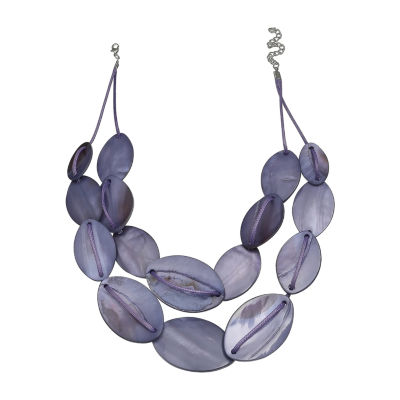 Mixit Lavender Shell Double Row Womens Beaded Necklace