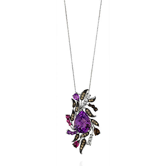 Le Vian Grand Sample Sale™ Crazy Collection® Grape Amethyst™, Raspberry Rhodolite®, Chocolate Quartz®, & Mint Julep Quartz™ Pendant set in 14k Vanilla Gold®
