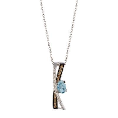 Le Vian Grand Sample Sale™ Pendant featuring Sea Blue Aquamarine®, Chocolate Diamonds®, Vanilla Diamonds® set in 14K Vanilla Gold®
