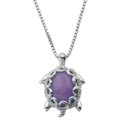 Womens 1/10 CT. T.W. Genuine Purple Jade Oval Pendant Necklace