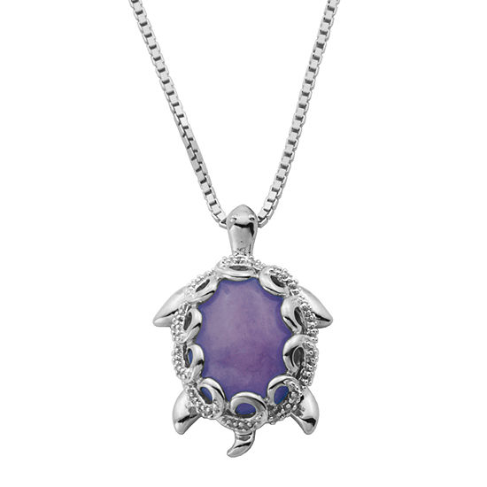 Womens 1/10 CT. T.W. Genuine Purple Jade Sterling Silver Oval Pendant Necklace